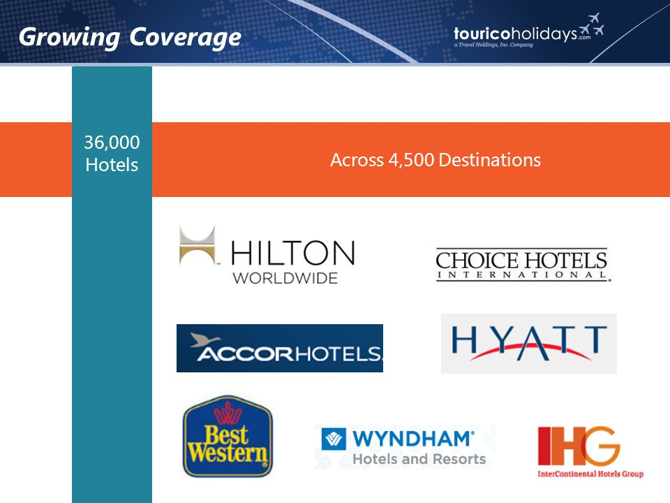 Across 4,500 Destinations Growing Coverage 36,000 Hotels