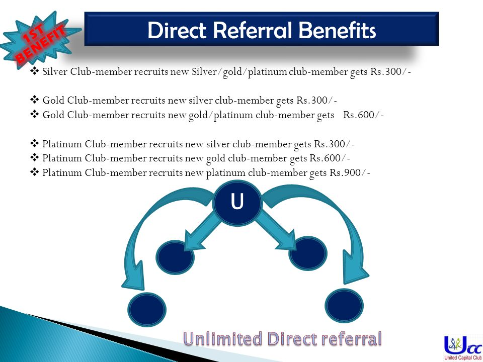 9 Direct Referral Benefits Silver Club-member recruits new Silver/gold/platinum club-member gets Rs.300/- Gold Club-member recruits new silver club-member gets Rs.300/- Gold Club-member recruits new gold/platinum club-member gets Rs.600/- Platinum Club-member recruits new silver club-member gets Rs.300/- Platinum Club-member recruits new gold club-member gets Rs.600/- Platinum Club-member recruits new platinum club-member gets Rs.900/- U