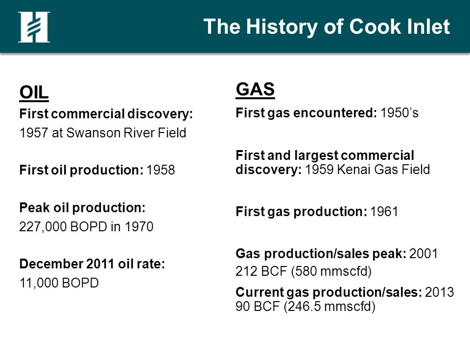 The History of Cook Inlet OIL First commercial discovery: 1957 at Swanson River Field First oil production: 1958 Peak oil production: 227,000 BOPD in 1970 December 2011 oil rate: 11,000 BOPD GAS First gas encountered: 1950s First and largest commercial discovery: 1959 Kenai Gas Field First gas production: 1961 Gas production/sales peak: 2001 212 BCF (580 mmscfd) Current gas production/sales: 2013 90 BCF (246.5 mmscfd)