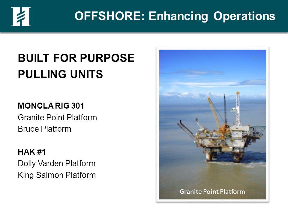 OFFSHORE: Enhancing Operations BUILT FOR PURPOSE PULLING UNITS MONCLA RIG 301 Granite Point Platform Bruce Platform HAK #1 Dolly Varden Platform King Salmon Platform Granite Point Platform