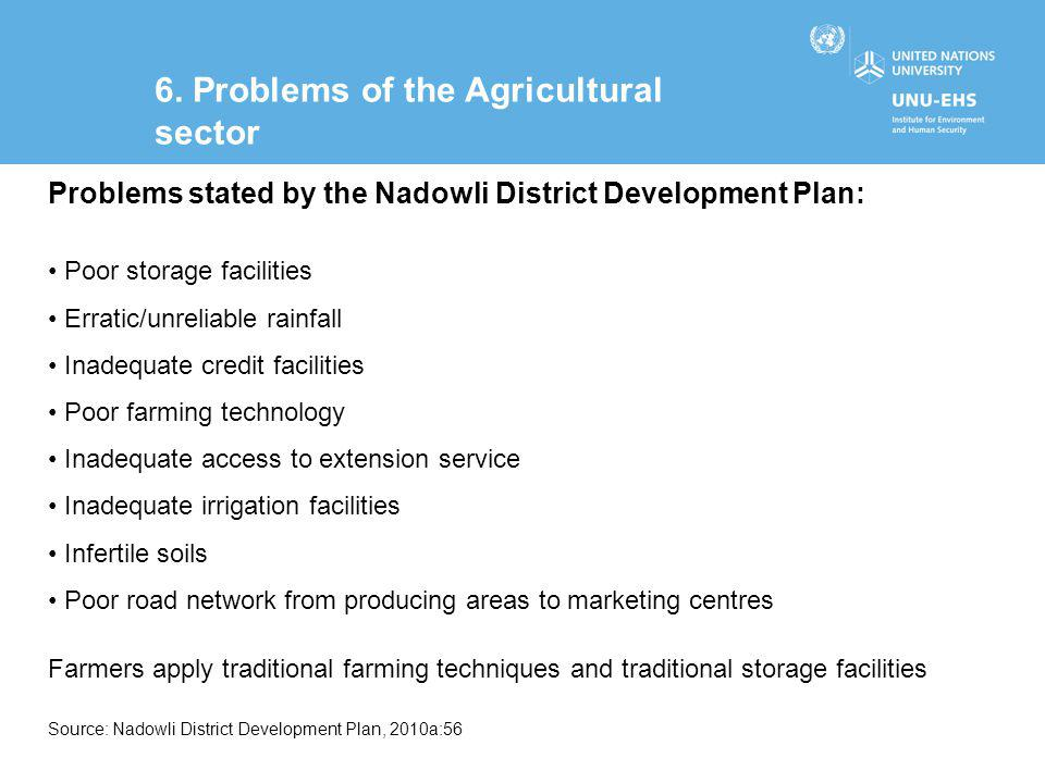6. Problems of the Agricultural sector Problems stated by the Nadowli District Development Plan: Poor storage facilities Erratic/unreliable rainfall I