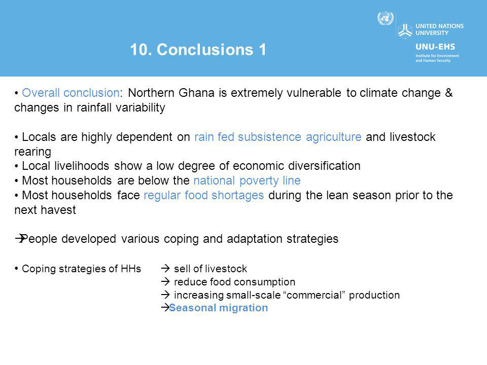 Overall conclusion: Northern Ghana is extremely vulnerable to climate change & changes in rainfall variability Locals are highly dependent on rain fed