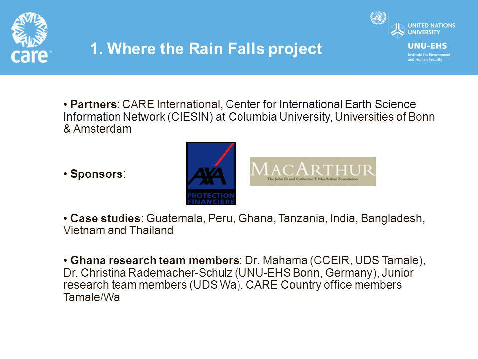 Partners: CARE International, Center for International Earth Science Information Network (CIESIN) at Columbia University, Universities of Bonn & Amste