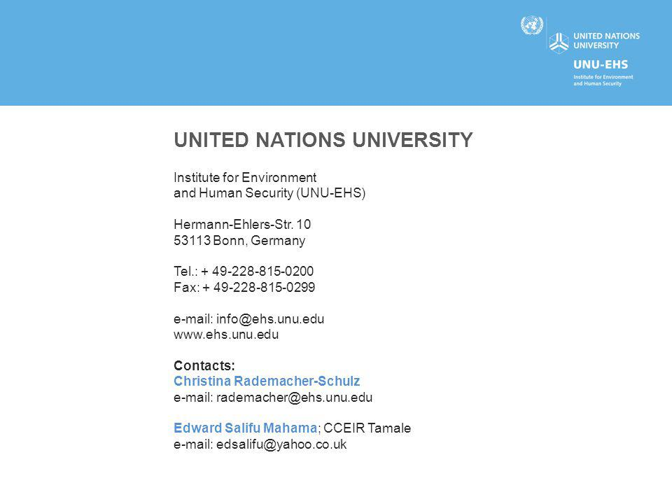 UNITED NATIONS UNIVERSITY Institute for Environment and Human Security (UNU-EHS) Hermann-Ehlers-Str. 10 53113 Bonn, Germany Tel.: + 49-228-815-0200 Fa