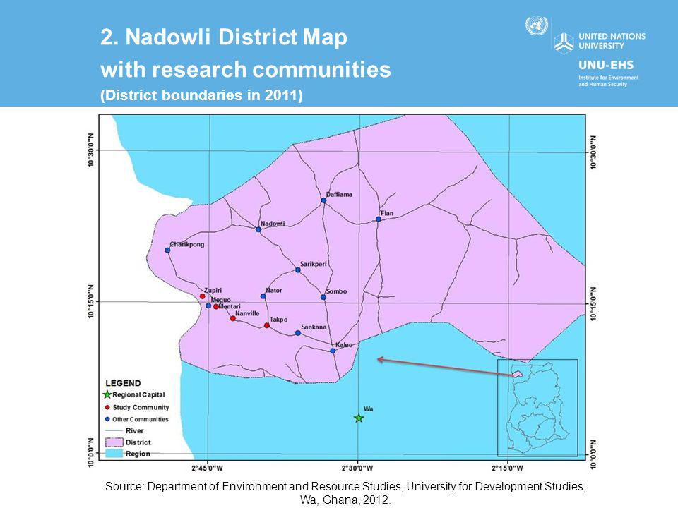 2. Nadowli District Map with research communities (District boundaries in 2011) Source: Department of Environment and Resource Studies, University for