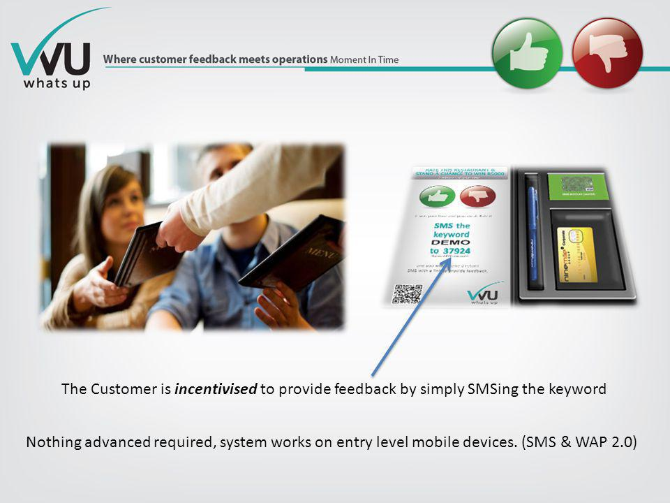 The Customer is incentivised to provide feedback by simply SMSing the keyword Nothing advanced required, system works on entry level mobile devices. (