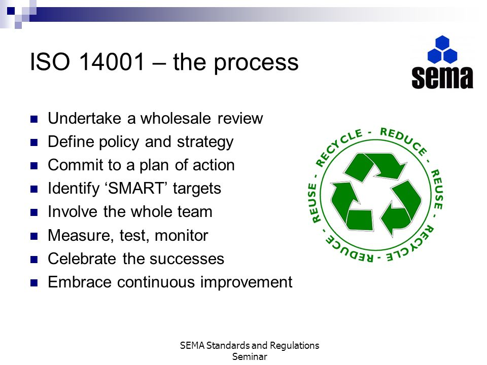 ISO 14001 – the process Undertake a wholesale review Define policy and strategy Commit to a plan of action Identify SMART targets Involve the whole te