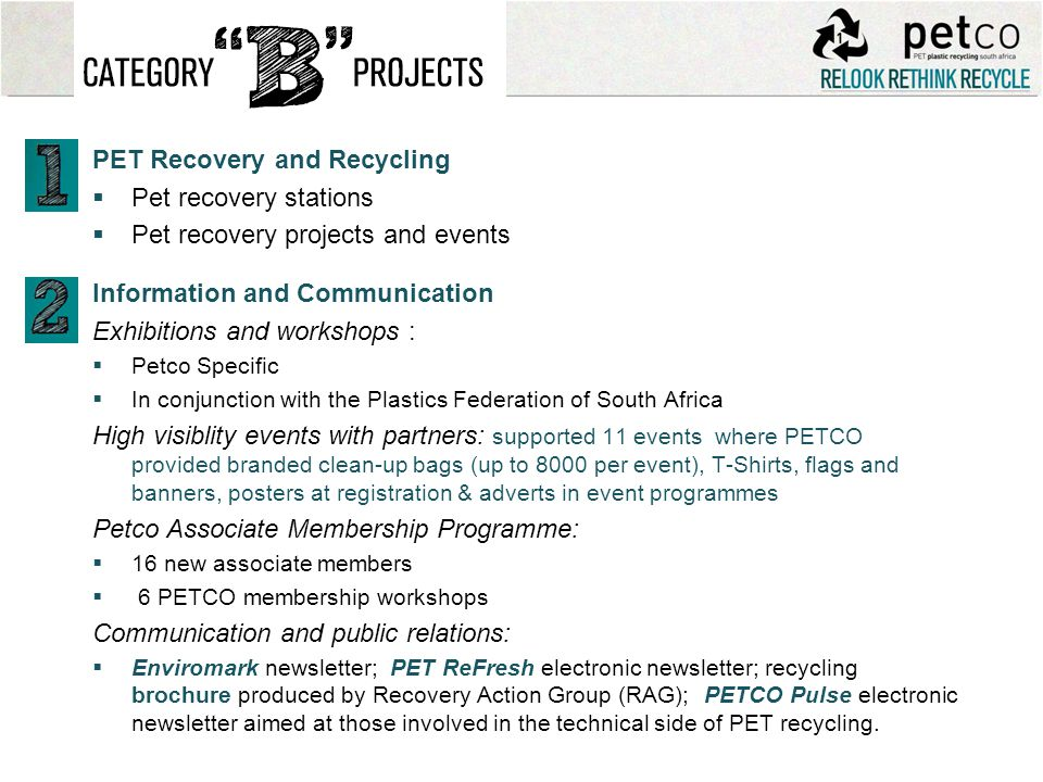 PET Recovery and Recycling Pet recovery stations Pet recovery projects and events Information and Communication Exhibitions and workshops : Petco Spec