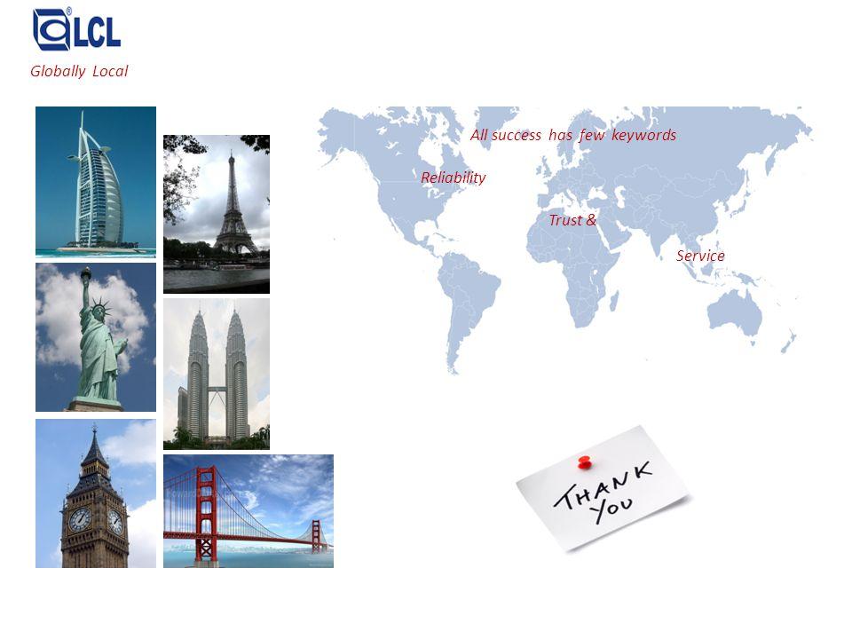 All success has few keywords Reliability Trust & Service Globally Local