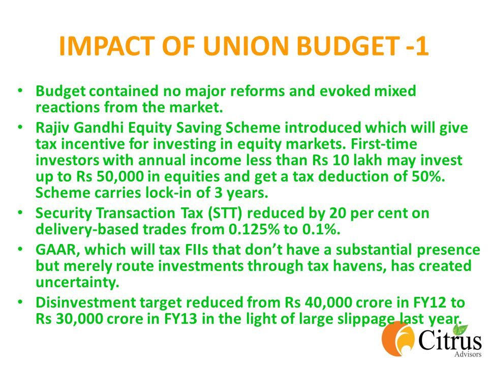 IMPACT OF UNION BUDGET -1 Budget contained no major reforms and evoked mixed reactions from the market.