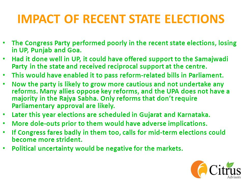IMPACT OF RECENT STATE ELECTIONS The Congress Party performed poorly in the recent state elections, losing in UP, Punjab and Goa.