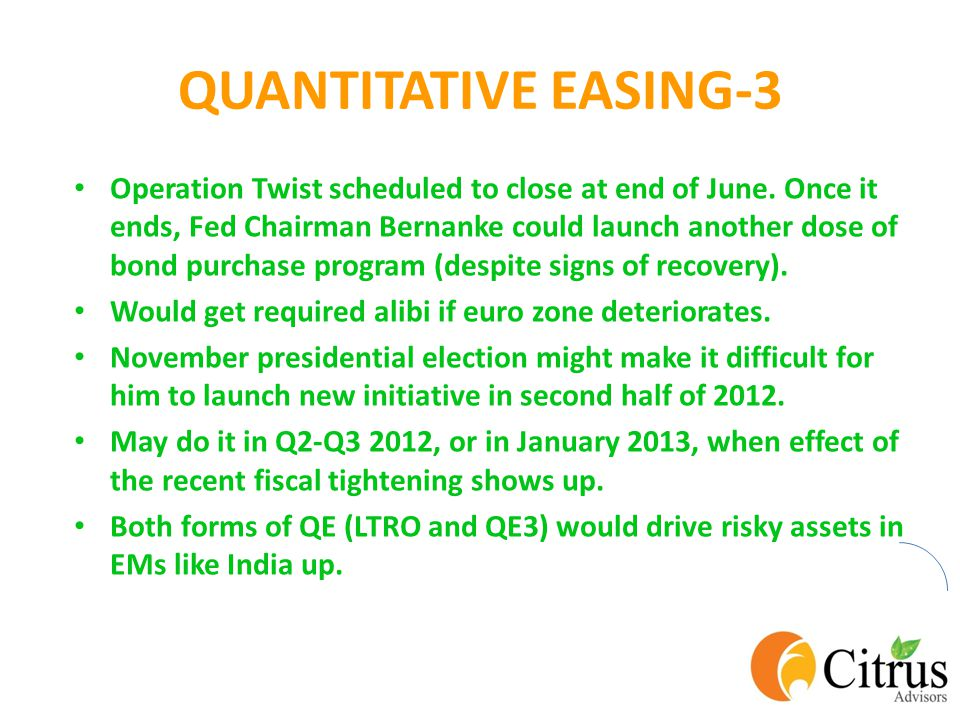 QUANTITATIVE EASING-3 Operation Twist scheduled to close at end of June.