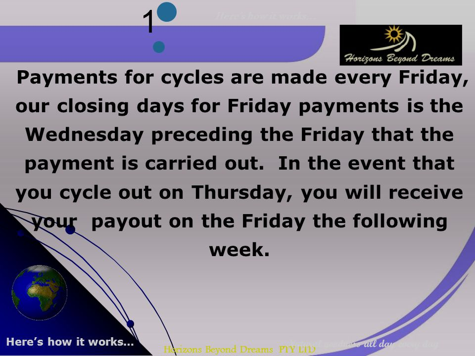Horizons Beyond Dreams PTY LTD 1 Payments for cycles are made every Friday, our closing days for Friday payments is the Wednesday preceding the Friday that the payment is carried out.