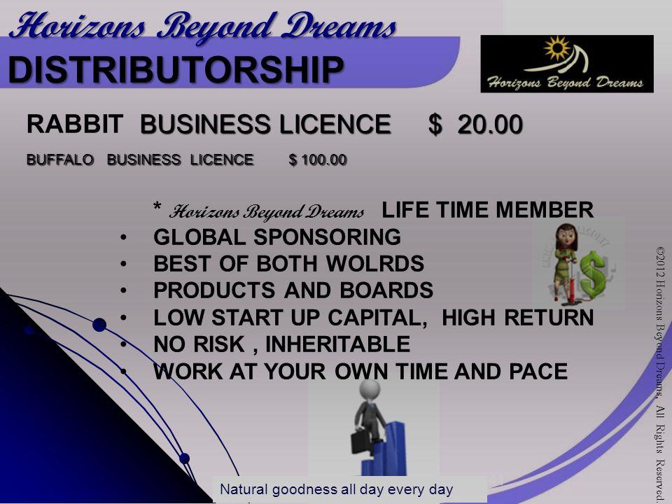 Horizons Beyond Dreams PTY LTD Horizons Beyond Dreams DISTRIBUTORSHIP RABBIT B USINESS L LL LICENCE $ 20.00 BUFFALO BUSINESS LICENCE $ 100.00 ©2012 Ho