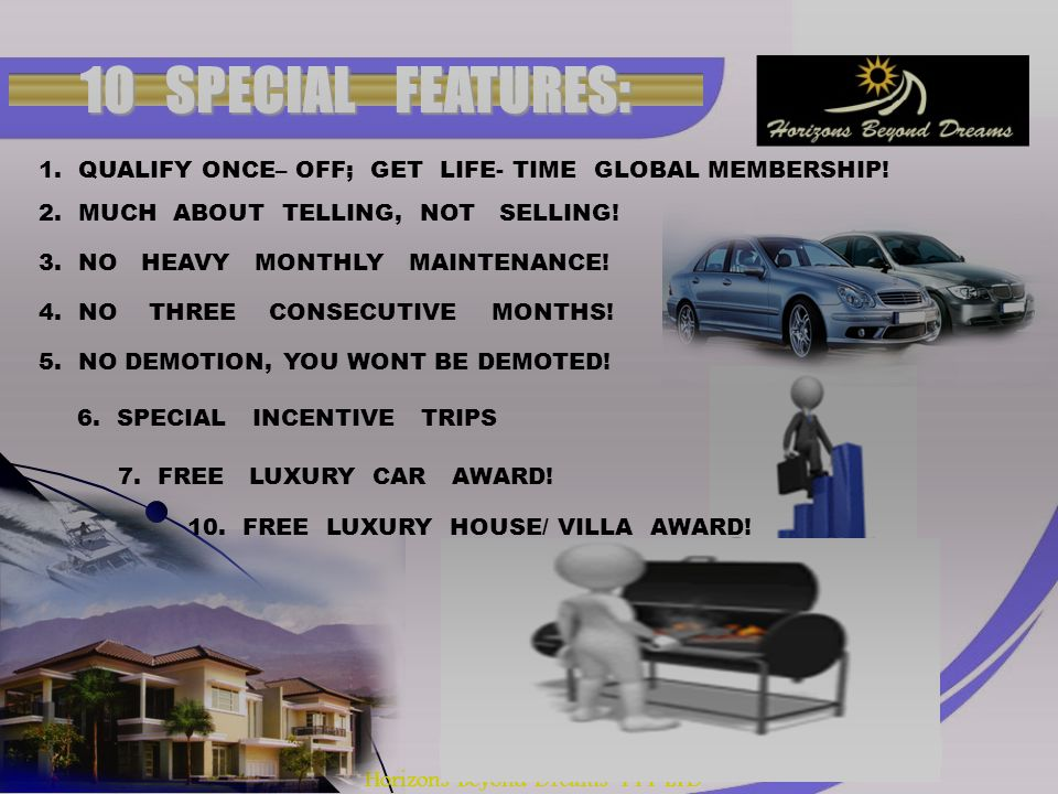 Horizons Beyond Dreams PTY LTD 10 SPECIAL FEATURES: 1.