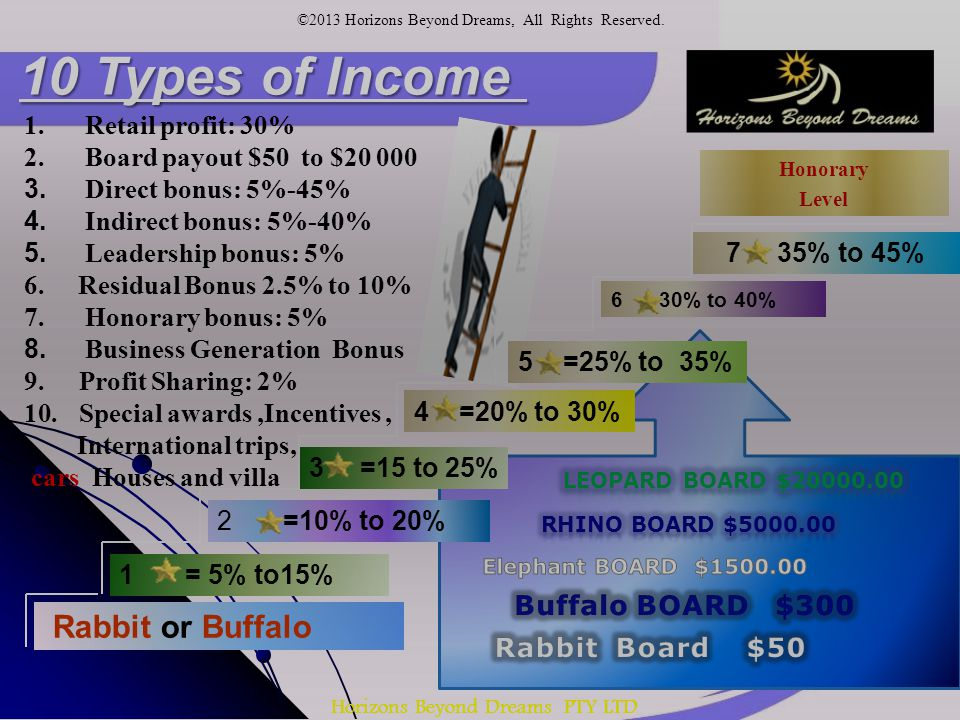 Horizons Beyond Dreams PTY LTD 5 =25% to 35% 4 =20% to 30% 6 30% to 40% 3 =15 to 25% 7 35% to 45% 1 = 5% to15% 2 =10% to 20% Rabbit or Buffalo Honorary Level 10 Types of Income 1.