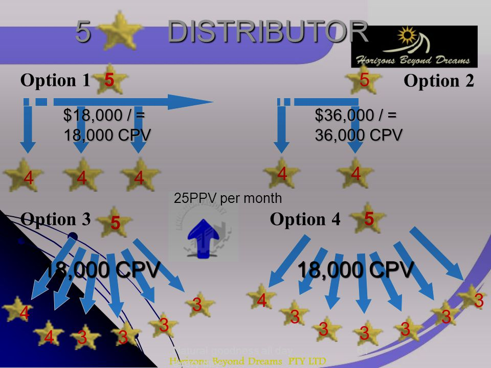 Horizons Beyond Dreams PTY LTD 5 DISTRIBUTOR 5 444 44 5 5 4 4 4 5 33 3 3 3 3 3 3 3 3 18,000 CPV Option 1 Option 2 Option 3Option 4 $18,000 / = 18,000 CPV $36,000 / = 36,000 CPV 25PPV per month Natural goodness all day every day 61