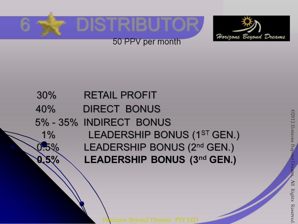 Horizons Beyond Dreams PTY LTD 6 DISTRIBUTOR 30% RETAIL PROFIT 40% DIRECT BONUS 5% - 35% INDIRECT BONUS 1% LEADERSHIP BONUS (1 ST GEN.) 50 PPV per month 0.5% LEADERSHIP BONUS (2 nd GEN.) 0.5% LEADERSHIP BONUS (3 nd GEN.) ©2012 Horizons Beyond Dreams, All Rights Reserved.