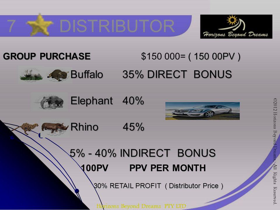 Horizons Beyond Dreams PTY LTD 7 DISTRIBUTOR GROUP PURCHASE ( 150 00PV ) GROUP PURCHASE $150 000= ( 150 00PV ) 30% RETAIL PROFIT ( Distributor Price ) Buffalo 35% DIRECT BONUS Elephant 40% Rhino 45% 5% - 40% INDIRECT BONUS 5% - 40% INDIRECT BONUS 100PV PPV PER MONTH ©2012 Horizons Beyond Dreams, All Rights Reserved.