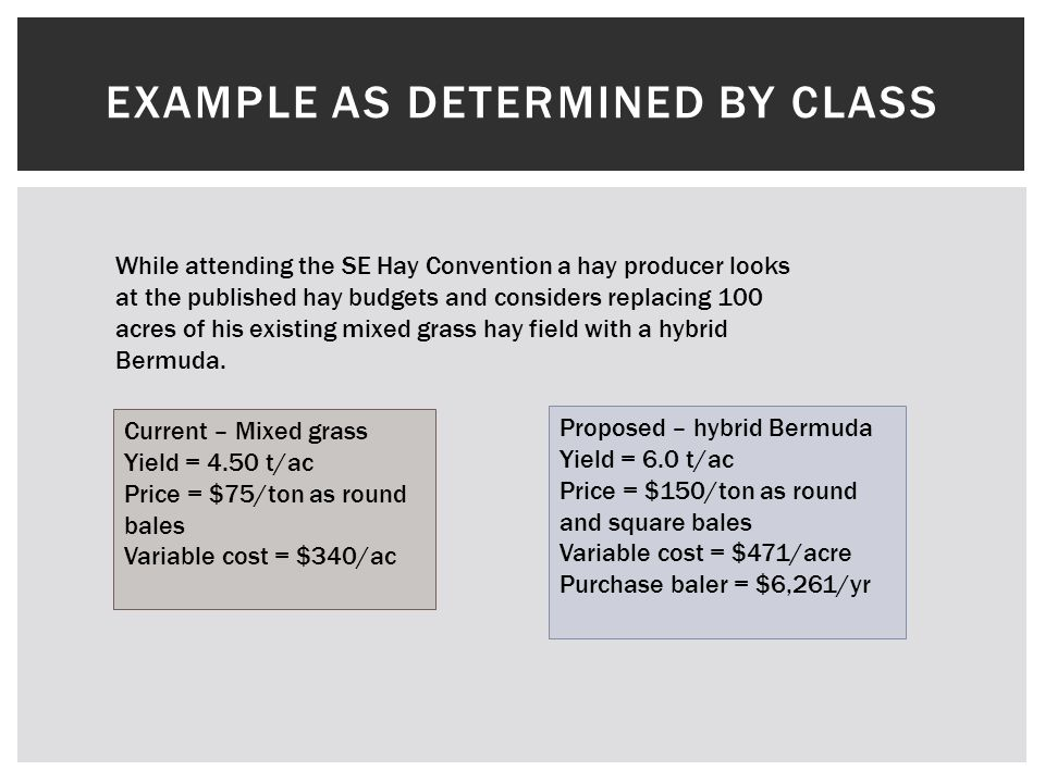 EXAMPLE AS DETERMINED BY CLASS While attending the SE Hay Convention a hay producer looks at the published hay budgets and considers replacing 100 acres of his existing mixed grass hay field with a hybrid Bermuda.