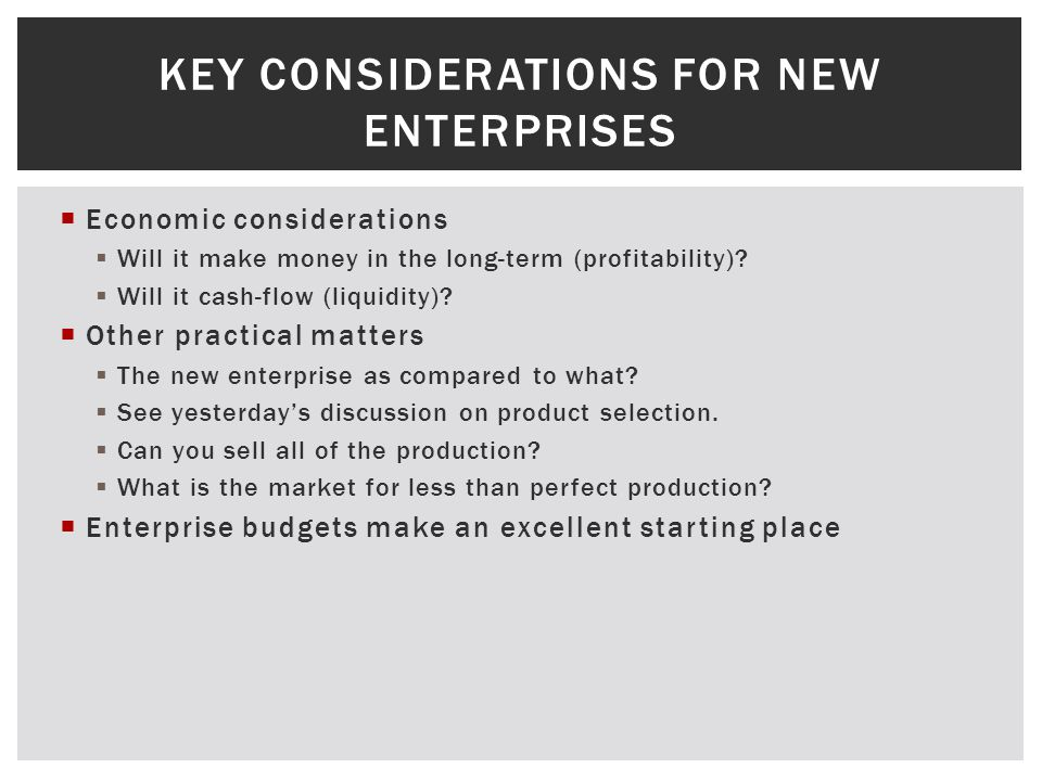 Economic considerations Will it make money in the long-term (profitability).