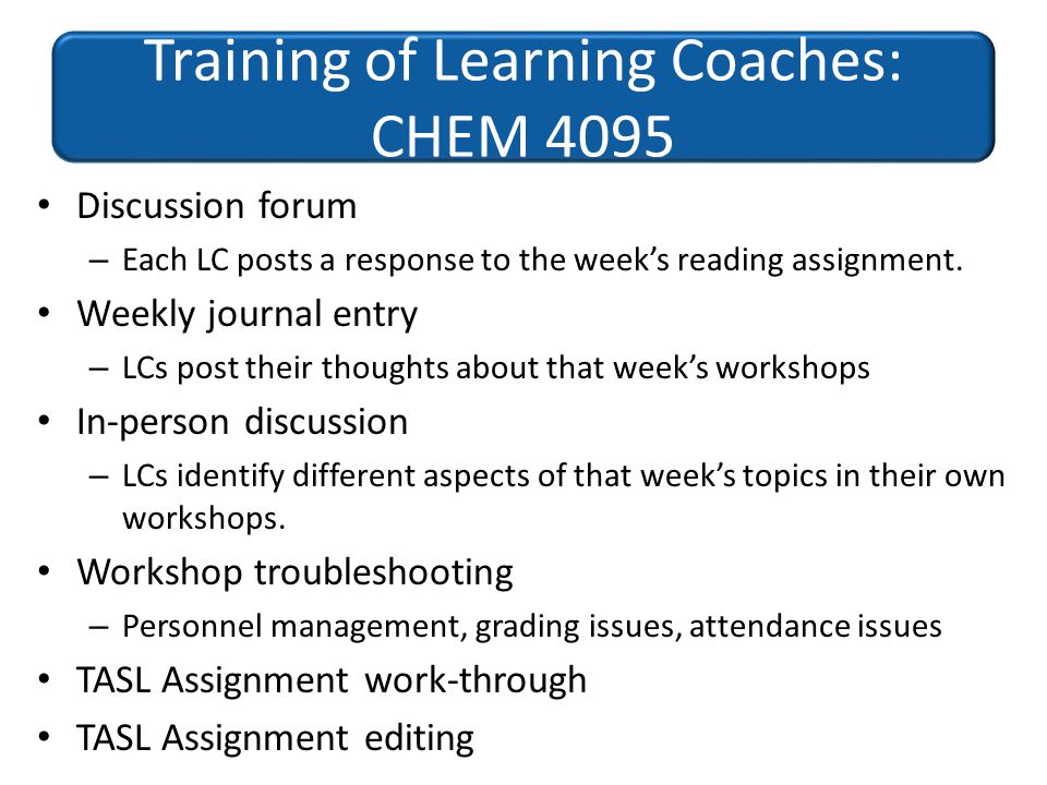 Discussion forum – Each LC posts a response to the weeks reading assignment. Weekly journal entry – LCs post their thoughts about that weeks workshops