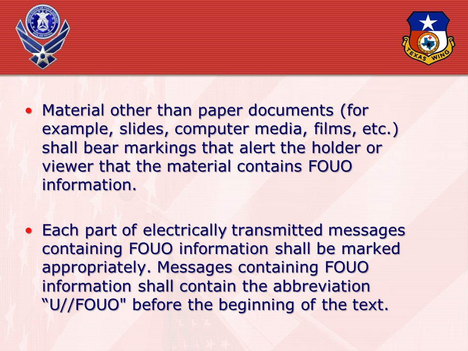 Material other than paper documents (for example, slides, computer media, films, etc.) shall bear markings that alert the holder or viewer that the ma