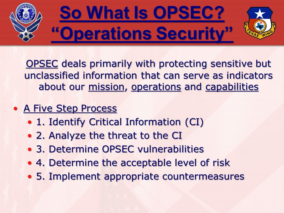 So What Is OPSEC? Operations Security OPSEC deals primarily with protecting sensitive but unclassified information that can serve as indicators about