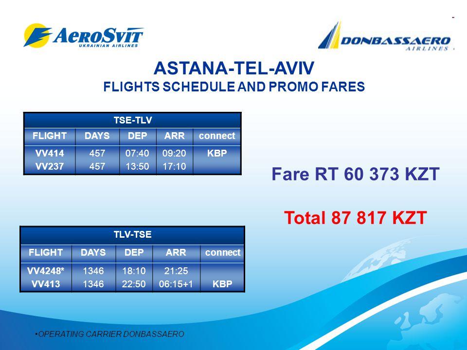 ASTANA-TEL-AVIV FLIGHTS SCHEDULE AND PROMO FARES TSE-TLV FLIGHTDAYSDEPARRconnect VV414 VV237 457 07:40 13:50 09:20 17:10 KBP TLV-TSE FLIGHTDAYSDEPARRconnect VV4248* VV413 1346 18:10 22:50 21:25 06:15+1KBP OPERATING CARRIER DONBASSAERO Fare RT 60 373 KZT Total 87 817 KZT