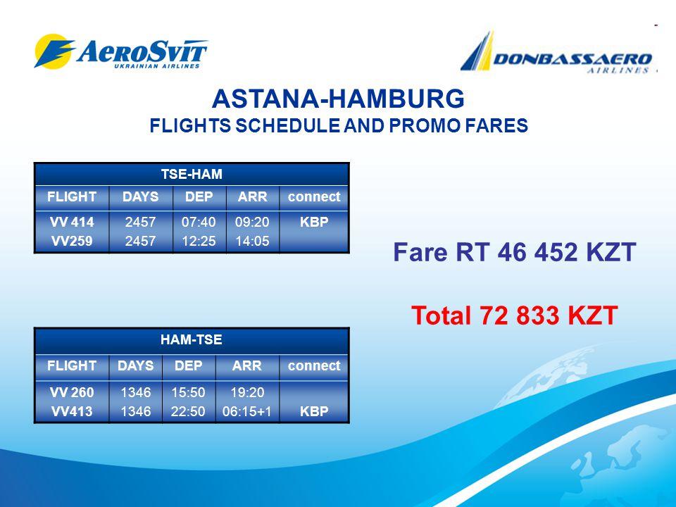 ASTANA-HAMBURG FLIGHTS SCHEDULE AND PROMO FARES TSE-HAM FLIGHTDAYSDEPARRconnect VV 414 VV259 2457 07:40 12:25 09:20 14:05 KBP HAM-TSE FLIGHTDAYSDEPARRconnect VV 260 VV413 1346 15:50 22:50 19:20 06:15+1KBP Fare RT 46 452 KZT Total 72 833 KZT