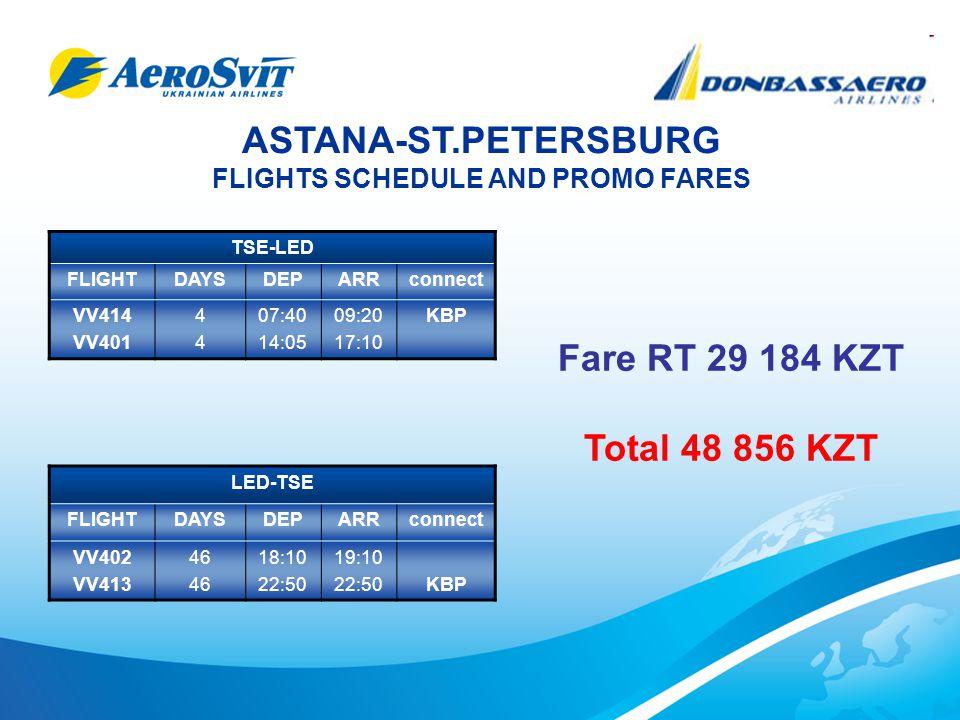 ASTANA-ST.PETERSBURG FLIGHTS SCHEDULE AND PROMO FARES TSE-LED FLIGHTDAYSDEPARRconnect VV414 VV401 4444 07:40 14:05 09:20 17:10 KBP LED-TSE FLIGHTDAYSDEPARRconnect VV402 VV413 46 18:10 22:50 19:10 22:50KBP Fare RT 29 184 KZT Total 48 856 KZT