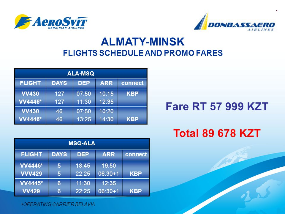 ALMATY-MINSK FLIGHTS SCHEDULE AND PROMO FARES ALA-MSQ FLIGHTDAYSDEPARRconnect VV430 VV4446* 127 07:50 11:30 10:15 12:35 KBP VV430 VV4446* 46 07:50 13:25 10:20 14:30KBP MSQ-ALA FLIGHTDAYSDEPARRconnect VV4446* VVV429 5555 18:45 22:25 19:50 06:30+1KBP VV4445* VV429 6666 11:30 22:25 12:35 06:30+1KBP OPERATING CARRIER BELAVIA Fare RT 57 999 KZT Total 89 678 KZT