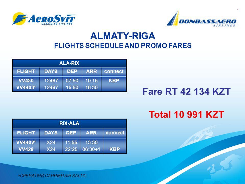 ALMATY-RIGA FLIGHTS SCHEDULE AND PROMO FARES ALA-RIX FLIGHTDAYSDEPARRconnect VV430 VV4403* 12467 07:50 15:50 10:15 16:30 KBP RIX-ALA FLIGHTDAYSDEPARRconnect VV4402* VV429 X24 11:55 22:25 13:30 06:30+1KBP OPERATING CARRIER AIR BALTIC Fare RT 42 134 KZT Total 10 991 KZT
