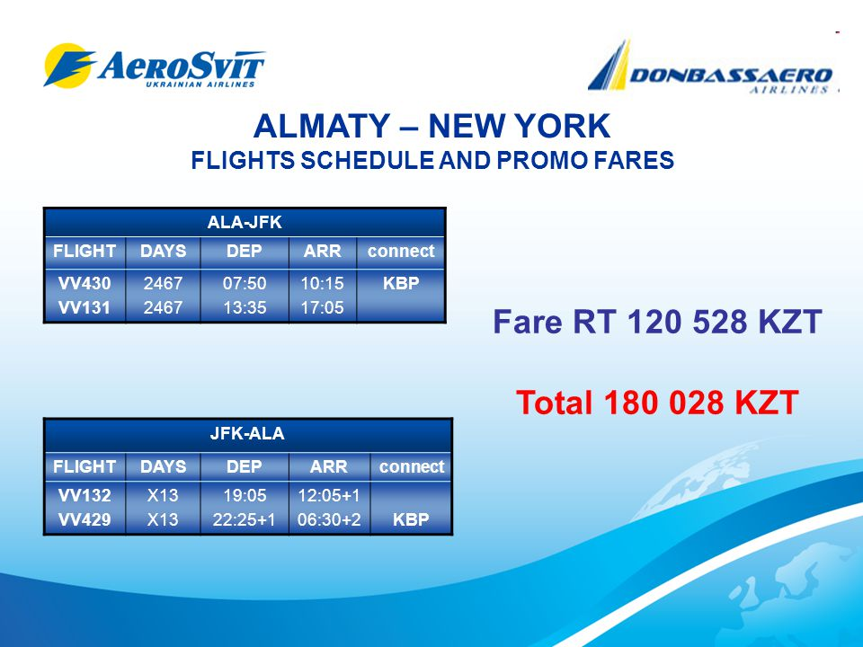 ALMATY – NEW YORK FLIGHTS SCHEDULE AND PROMO FARES ALA-JFK FLIGHTDAYSDEPARRconnect VV430 VV131 2467 07:50 13:35 10:15 17:05 KBP JFK-ALA FLIGHTDAYSDEPARRconnect VV132 VV429 X13 19:05 22:25+1 12:05+1 06:30+2KBP Fare RT 120 528 KZT Total 180 028 KZT