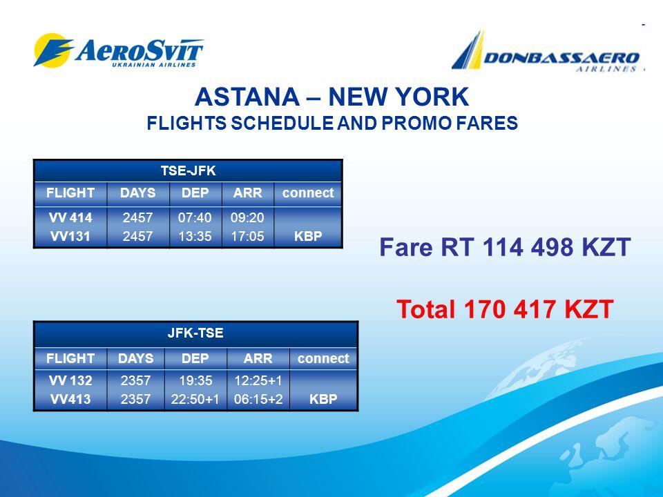 ASTANA – NEW YORK FLIGHTS SCHEDULE AND PROMO FARES TSE-JFK FLIGHTDAYSDEPARRconnect VV 414 VV131 2457 07:40 13:35 09:20 17:05KBP JFK-TSE FLIGHTDAYSDEPARRconnect VV 132 VV413 2357 19:35 22:50+1 12:25+1 06:15+2KBP Fare RT 114 498 KZT Total 170 417 KZT