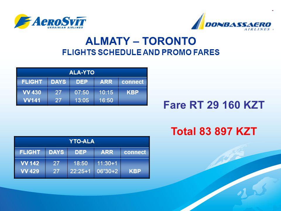 ASTANA – TORONTO FLIGHTS SCHEDULE AND PROMO FARES TSE-YTO FLIGHTDAYSDEPARRconnect VV414 VV141 27 07:40 13:05 09:20 16:50 KBP YTO-TSE FLIGHTDAY S DEPARRconne ct VV142 VV143 2718:50 22:50+1 11:30+1 06:15+2KBP Fare RT 18 025 KZT Total 69 223 KZT
