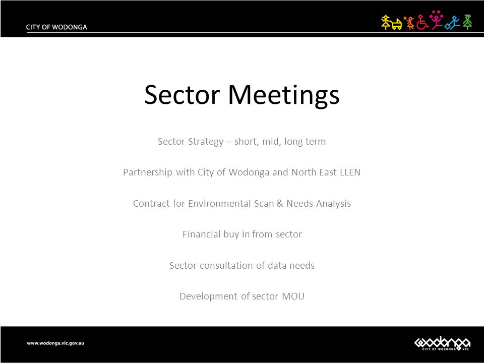Sector Meetings Sector Strategy – short, mid, long term Partnership with City of Wodonga and North East LLEN Contract for Environmental Scan & Needs A