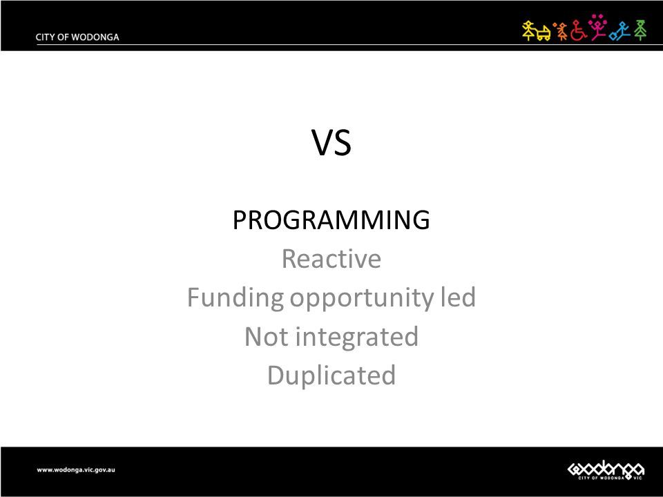 VS PROGRAMMING Reactive Funding opportunity led Not integrated Duplicated