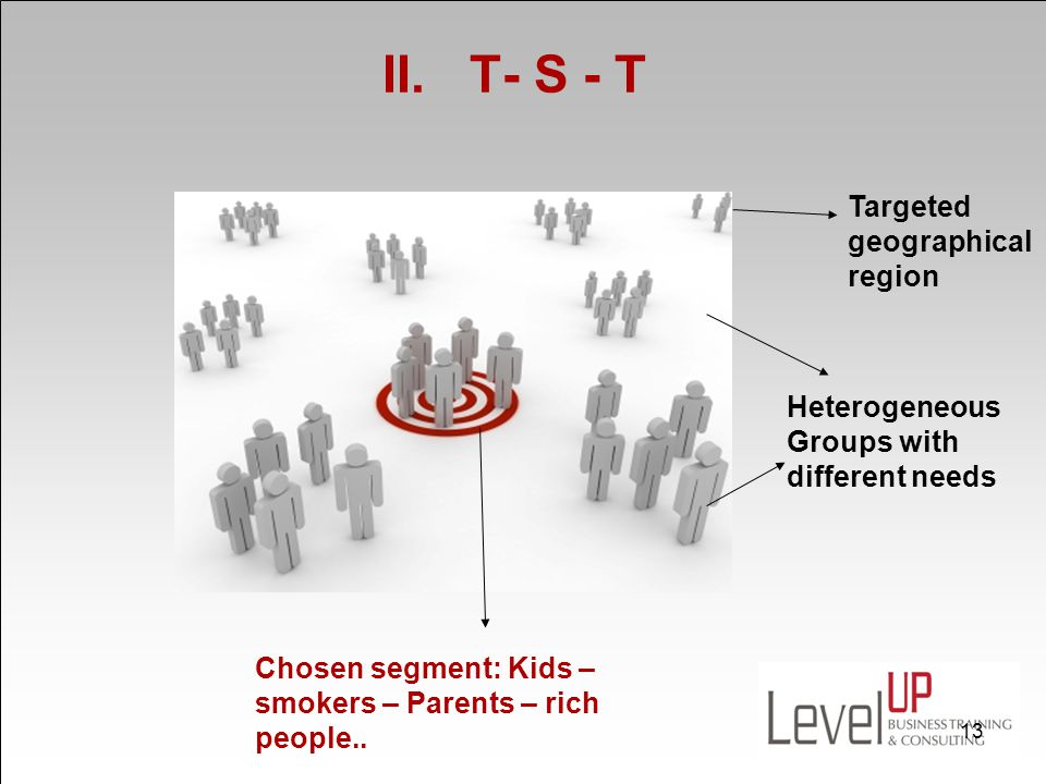 II. T- S - T Targeted geographical region Heterogeneous Groups with different needs Chosen segment: Kids – smokers – Parents – rich people.. 13