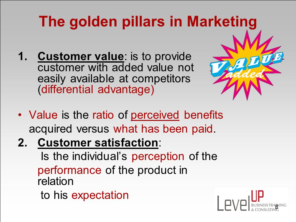 3.Customer retention: The objective of providing customers with value and satisfaction is to retain customers and make them loyal.