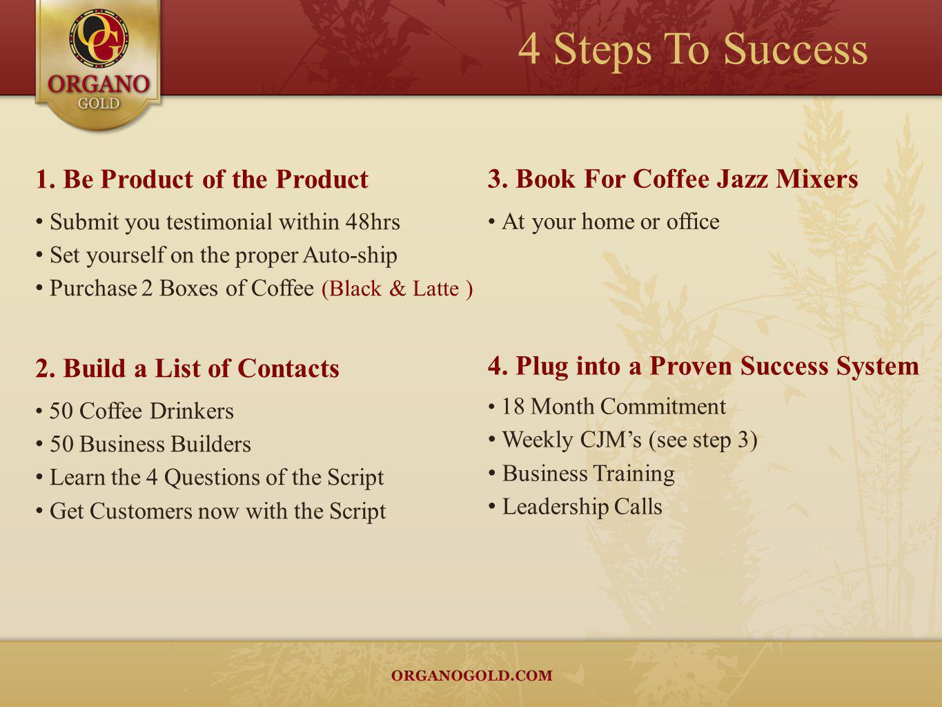 1. Be Product of the Product Submit you testimonial within 48hrs Set yourself on the proper Auto-ship Purchase 2 Boxes of Coffee (Black & Latte ) 4. P