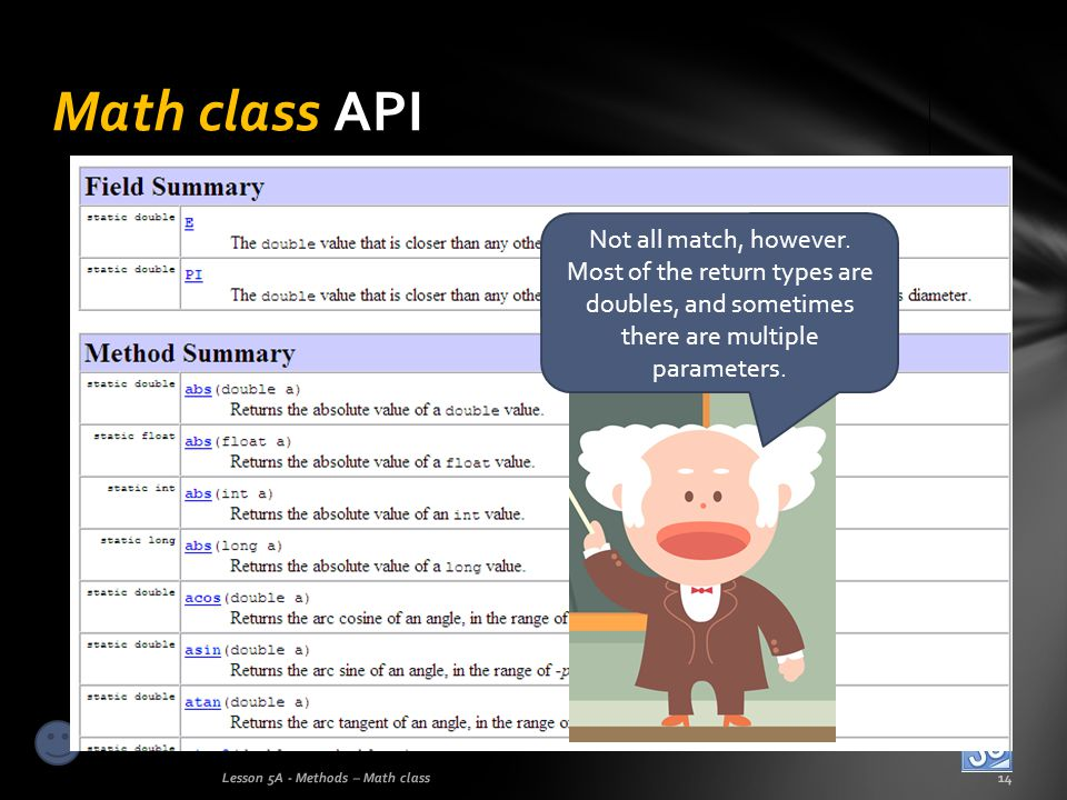 Math class API Lesson 5A - Methods – Math class14 Not all match, however. Most of the return types are doubles, and sometimes there are multiple param
