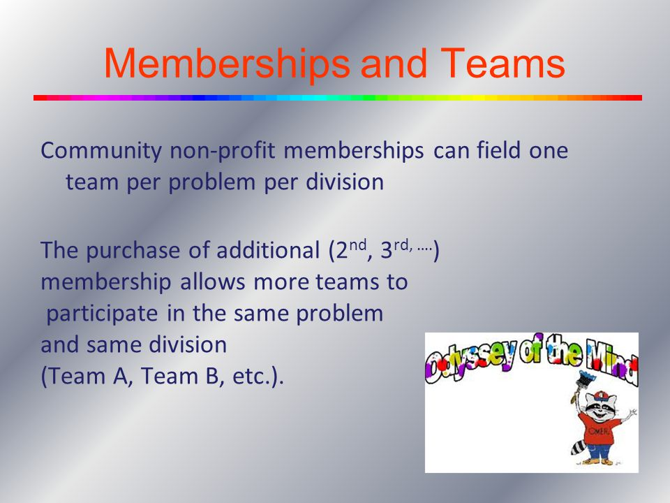 Memberships and Teams Community non-profit memberships can field one team per problem per division The purchase of additional (2 nd, 3 rd, …. ) member