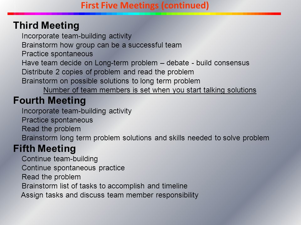 First Five Meetings (continued) Third Meeting Incorporate team-building activity Brainstorm how group can be a successful team Practice spontaneous Ha