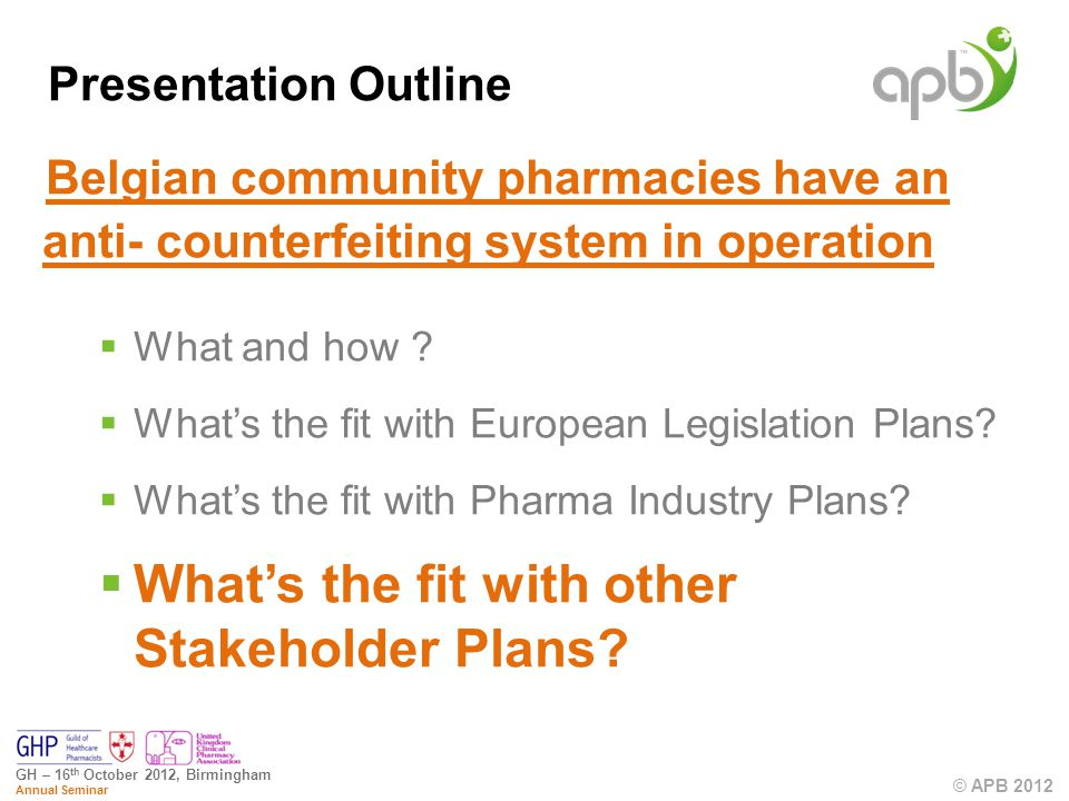 © APB 2012 GH – 16 th October 2012, Birmingham Annual Seminar Belgian community pharmacies have an anti- counterfeiting system in operation What and how .