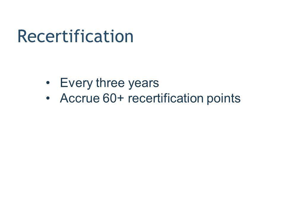 Recertification Every three years Accrue 60+ recertification points