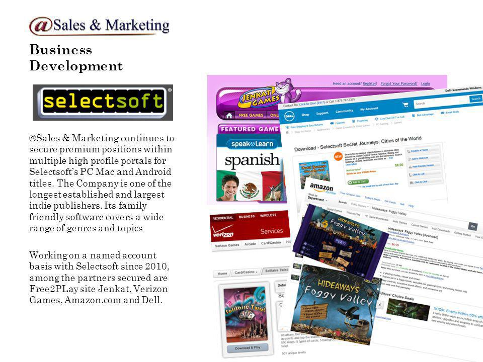 Business Development @Sales & Marketing continues to secure premium positions within multiple high profile portals for Selectsofts PC Mac and Android titles.