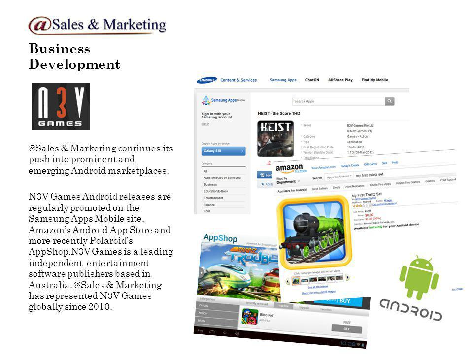 Business Development @Sales & Marketing continues its push into prominent and emerging Android marketplaces.