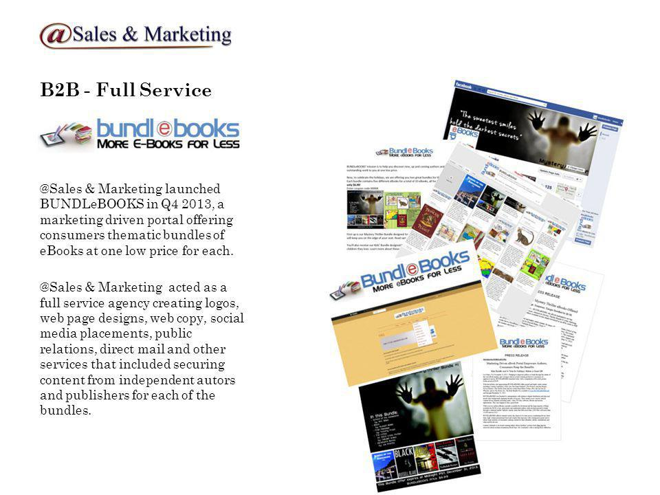 B2B - Full Service @Sales & Marketing launched BUNDLeBOOKS in Q4 2013, a marketing driven portal offering consumers thematic bundles of eBooks at one low price for each.
