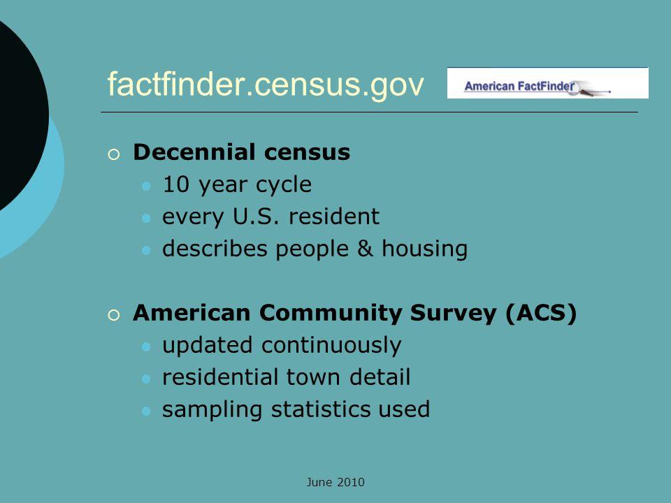 June 2010 factfinder.census.gov Decennial census 10 year cycle every U.S.